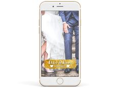Snapchat Wedding Filter - Gold Banner With Hearts.png