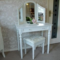 Arabella Range - Ivory Dressing Table with Triple mirror and Stool