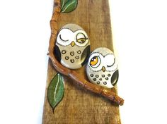 Driftwood Painted Owls sitting on a branch by bybirdsandbees