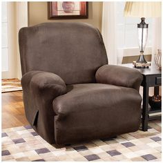 Sure Fit Stretch Leather Recliner Slipcover Upholstery: Brown