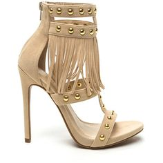Arena Rules Fringe Gladiator Heels CAMEL ($32) ❤ liked on Polyvore featuring shoes, sandals, tan, strappy sandals, tan sandals, high-heel gladiator sandals, gladiator sandals and cut out gladiator sandals