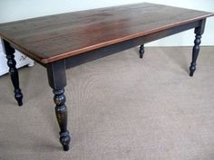 Very Rustic Farm Table With Antique Walnut Finish - traditional - dining tables - boston - by eCustomFinishes