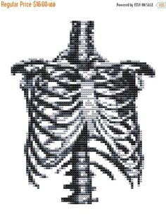 BLACK FRIDAY Cross stitch Kit Rib Cage Modern by FredSpools