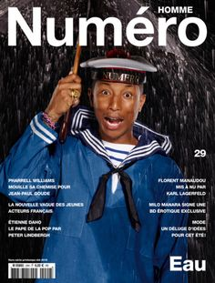 Pharrell is a man of many images. After playing it cool on the cover of GQ Style Germany in one of his Adidas Originals looks, Pharrell nabs another spring-summer 2015 cover. For his next outing, Pharrell connects with photographer Jean-Paul Goude for a cheeky Numéro Homme outing. Embracing the season's denim trend in an unexpected fashion, Pharrell goes the sailor route in a denim top and striped tee.  ...