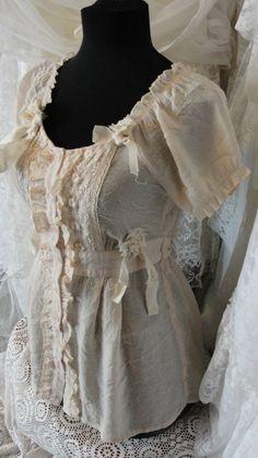 Shabby chic mori girl gypsy boho romantic blouse by SummersBreeze