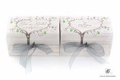 #Cajas #anillos y #arras Jose y Junkal, árboles con #manzanas verdes, pintadas a mano. www.lolagranado.com