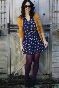 Kind of sweet, Yellow/mustard with navy blue.. flattering fit...I would wear a print but not horses... I would switch out the leggings/tights for a different color in the fall/winter or go without during the spring/summer-Andrea