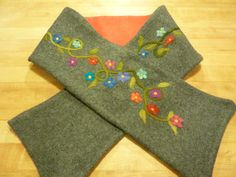 Spring Flowers Needle Felted Upcycled Sweater Scarf by susio, $50.00