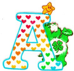 "3.5/"" Care bears alphabet abc letter c name monogram fabric applique iron on"