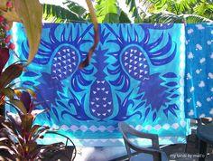 A beautiful tifaifai quilt hanging on the line at Auntie Myrna's house in Mahina, Tahiti, French Polynesia.© a.mali'o