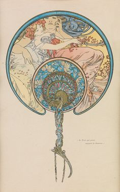 """ALPHONSE MUCHA (1860-1939) LE VENT QUI PASSE EMPORTE LA JEUNESSE. 1899. 11 1/4x7 1/4 inches, 28 1/2x18 1/2 cm. [F. Champenois, Paris.] Condition A: minor foxing in image; fold in upper left corner. Matted and framed. Unexamined out of frame. The image is a romantic allegory of Time watching a maiden as autumn leaves blow out of her hand; a poignant image explained by the caption: """"the passing wind takes youth away."""""""