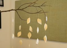 CREATIVE MOBILES | ... leaf mobile with coffee stained muslin fabric and a white birch twig