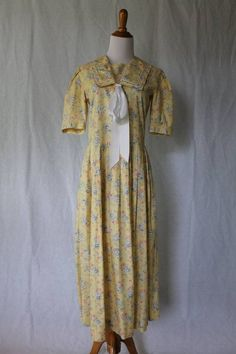 VINTAGE LAURA ASHLEY Prettiest Yellow Sailor Dress Boating 1920's Gatsby sz 6  #LauraAshley