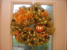 Glitter pumpkin wreath by DecoDzigns on Etsy, $55.00