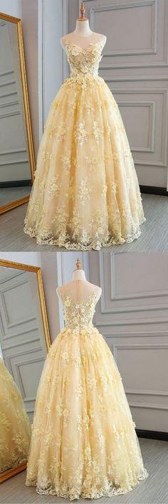 Yellow lace customize long A-line senior prom dress, long lace halter evening dress,PD455876 #eveningdresses