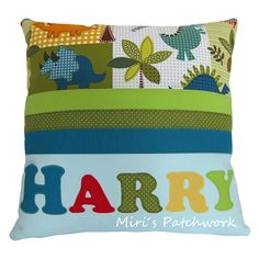Personalized patchwork cushion. Name applique cushion. Made to order cushion . Kids room decor.