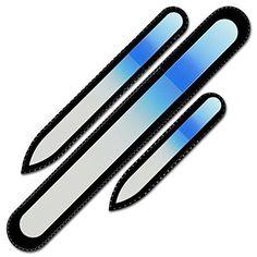 Mont Bleu Lot de 3 limes à ongles en verre coloré livrée dans un étui de velours noir, de drande taille | Lime en ver...