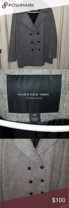 Marc New York Gray Wool Coat Andrew Marc NWOT Size ladies 14 ~ 51% wool 37% polyester 10% acrylic 2% other fibers.  Stunning and Gorgeous Wool Coat by Marc New York Andrew Marc. Very warm. I never got a chance to wear and now moving where it's warm. Very stylish Andrew Marc Jackets & Coats