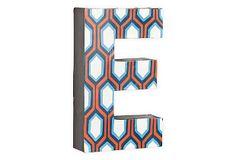 Letter E, Blue And Orange Hexagon on OneKingsLane.com