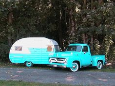 1955 Ford and Vintage RV. Klotz You get that vintage truck and I'll get the vintage trailer and we'll hit the road! Vintage Campers Trailers, Retro Campers, Cool Campers, Vintage Caravans, Camper Trailers, Vintage Motorhome, Shasta Trailer, T1 Bus, Vw T1