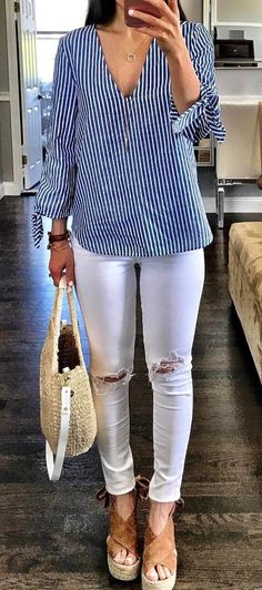 #summer #outfits Striped Blouse + White Ripped Skinny Jeans + Brown Pumps