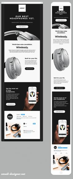Newsletter responsive Bose - Email Template - Ideas of Email Template - Newsletter re Newsletter Responsive, Newsletter Layout, Email Newsletter Design, Responsive Email, Newsletter Ideas, Email Template Design, Email Templates, Newsletter Templates, Design Responsive