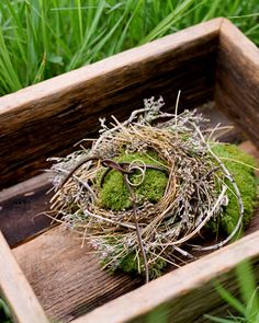 Moss Ring Pillow, The ring pillow at Kristina and Jesse's outdoor, rustic wedding uses soft twigs, dried flowers, and green moss to echo a bird's nest. Leather cord holds the wedding bands. See More of this Wedding in Jackson, Wyoming at #marthastewart #weddings