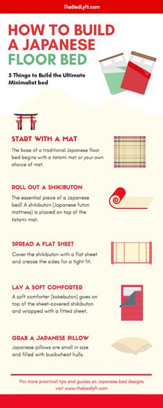 to make a Japanese futon bed. All you need are 5 steps and items: a shikibutHow to make a Japanese futon bed. All you need are 5 steps and items: a shikibut 5 Most Important Japanese Design Concepts (Wabi-Sabi, Iki, Kanketsu, Ma, Mono-no-Aware ) Japanese Style Bedroom, Japanese Home Decor, Japanese Interior, Japanese Style House, Diy Japanese Decorations, Japanese Inspired Bedroom, Japanese Design, Japanese Floor Bed, Japanese Futon Mattress