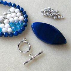Blue Agate Pendant Jade Glass Beads DIY by CatsBeadKitsandMore