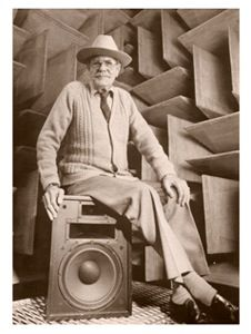 The legendary and iconic Paul Wilbur Klipsch and Heresy in anechoic chamber.