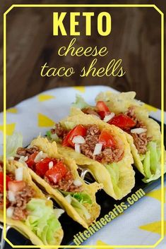 ZERO carb Keto Cheese Taco Shells are keto crunchy heaven and the perfect healthy keto family meal. Healthy Dinner Recipes For Weight Loss, Healthy Recipes, Mexican Food Recipes, Low Carb Recipes, Whole Food Recipes, Healthy Snacks, Family Recipes, Keto Foods, Ketogenic Recipes