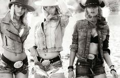Candice Swanepoel, Edita Vilkeviciute + Hailey Clauson Are Sexy Cowgirls for Vogue Germany by Mario Testino
