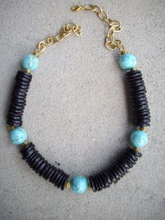 Brown Coconut Disc Beads Turquoise/Gold by DesignsbyPattiLynn, $50.00