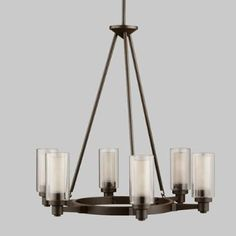 Kichler - 2344OZ. Lighting Expo. Six Light Chandelier. ID #: 657393. $538. Finish: Olde Bronze. 60-w. Max. Dia. 26, body height 26-1/2, overall 64-1/2, extra lead wire 78.