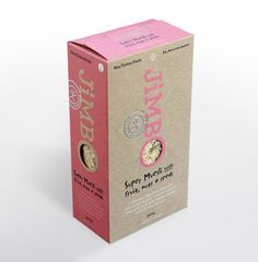 Jimbo Muesli package - love the natural kraft board with color on it! And hot-stamping!