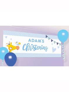 Giraffe On Your Christening Day Personalised Banner