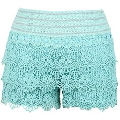 Floral Sea Crochet Shorts (Mint) ($33) found on Polyvore