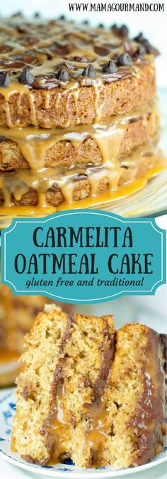 Carmelita Oatmeal Cake is a huge, fluffy, to-die-for version of your favorite carmelita bar recipe. Light oatmeal cake layers are sandwiched between semi-sweet chocolate frosting and lots of gooey caramel. www.mamagourmand.com