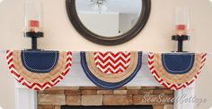 Patriotic bunting with chevron fabric--Sew Sweet Cottage Fourth of July