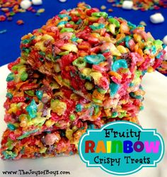 These Fruity Rainbow Crispy Treats are a colorful twist on the original Rice Krispie treats.  These are great for St Patrick's Day or as a bake sale item.  Yum!