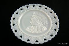 Gillinder & Sons Antique Lacy Edge Milk Glass Plate Featuring Indian in Full Head Dress - Rare - Ca 1903 - by on Etsy Vintage Dishes, Vintage Kitchen, Glass Collection, Milk Glass, Trays, Glass Art, Sons, Pottery, Plates