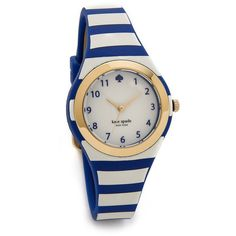 Kate Spade New York Rumsey Watch - Blue/White ($125) found on Polyvore featuring jewelry, watches, accessories, blue dial watches, water resistant watches, kate spade jewelry, blue watches and white rubber watches