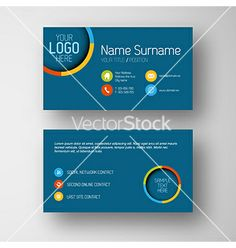 Modern blue business card template with flat user vector by orson on VectorStock®