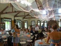 Rustic Wedding, Different view of tulle and lights to decorate the ceiling