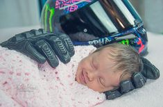 Baby Smiling After Being Wrapped In Her Late Father's Motorcycle Gloves :-(