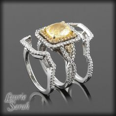 This is neat....Cushion Cut Yellow Sapphire Wedding Ring Set with Two Contoured Diamond Wedding Bands