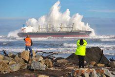 Beached cargo ship