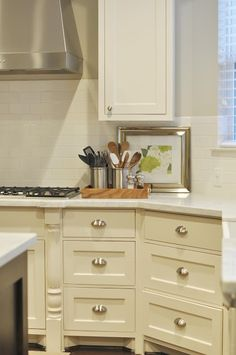 Cream Kitchen Cabinets Dover white, Transitional, kitchen, Sherwin Williams Agreeable Gray, Honey We're Home Kitchen Cabinetry, Transitional Kitchen, Kitchen Colors, Kitchen Decor, Kitchen Cabinets Decor, New Kitchen, Home Kitchens, Kitchen Cabinet Colors, Kitchen Renovation