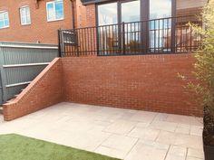 red engineering brick wall with brick on edge & raking cut Brick Garden, Brickwork, Red Bricks, Brick Wall, Garden Design, Deck, Building, Outdoor Decor