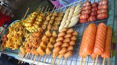 Bangkok Street Food, meat on a stick...haha